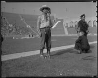 Leo Carrillo on the field at the Coliseum for a tribute to the Elks, Los Angeles, 1936