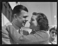 Radio Comedian Ken Murray greeting his fiancé Florence Heller, Los Angeles, 1937