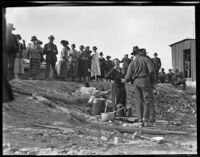 Group gathered near Los Angeles aqueduct, Inyo County, 1924