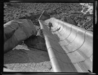 Los Angeles aqueduct, damaged section of channel, Inyo County, [1924-1931?]
