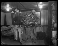Chinese lion being readied for the New Year celebration in Chinatown, Los Angeles, 1927