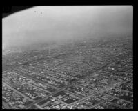 Aerial view of streets, Los Angeles, [1930s?]