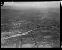 Aerial view of fields, river, and hills, Los Angeles, [1930s?]
