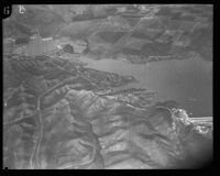 Aerial view of reservoir or lake, Los Angeles, [1930s?]