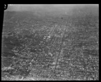 Aerial view of streets and hills, Los Angeles, [1930s?]
