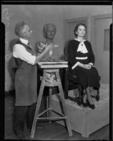 Roger Noble Burnham sculpting a bust of Frances Whitesell, circa 1935-1939