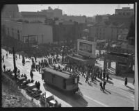 Street car accident aftermath, Los Angeles, 1937