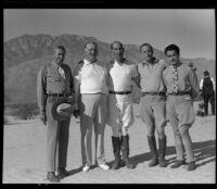 Los Angeles Breakfast Club officers posing outdoors, [1939?]