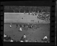 Football game, Occidental College vs. Pomona College, Eagle Rock, 1936