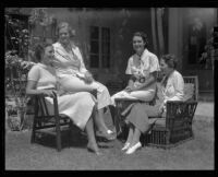 Young women planning party for military officers, Rancho Palos Verdes, 1936