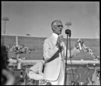 Physician and pension advocate Francis Townsend speaking at the Rose Bowl, Pasadena, 1936