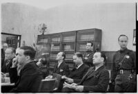Bombing defendants Fred A. Browne, Earle E. Kynette, and Roy J. Allen in court, Los Angeles, 1938