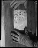 Ransom instructions, Mary B. Skeele kidnapping case, 1933