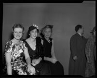 Three seated women, Times Fashion Show, Los Angeles, 1936