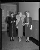 Model Priscilla Lawson and two other women, Times fashion show, Los Angeles, 1936