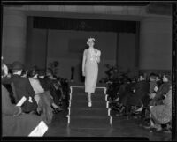 Model Monte Hargus in dress and hat, Times Fashion Show, Los Angeles, 1936