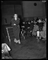 Model in fur coat, Times Fashion Show, Los Angeles, 1936