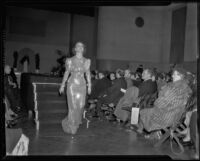 Model in sparkling gown, Times Fashion Show, Los Angeles, 1936
