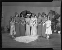 Women and girls dressed as bridal party, Times Fashion Show, Los Angeles, 1936
