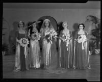 Women dressed as bridal party, Times Fashion Show, Los Angeles, 1936