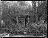 Log cabin, Rancho Santa Anita, Arcadia, 1938