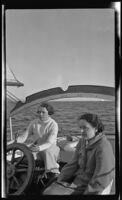 Gertrude Turner and another woman on yacht Aafje, [1937?]