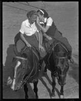 Carolyn Wilson and Jo Curtin on horseback, Rancho Palos Verdes, 1936