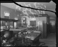 First National Bank, interior, following robbery, Arcadia, 1922
