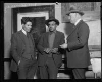 First National Bank robbery suspects Jose Hernandez and Juan Jiminez with Deputy Sheriff William Bright, 1922