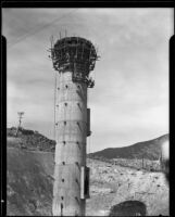 Top of the inlet-outlet tower at the Bouquet Canyon Reservoir, 1934