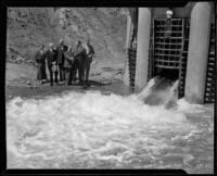 Dedication of the Boquet Canyon Reservoir with William P. Whitsett, Mayor Frank Shaw, H. A. Van Norman, and others, 1934