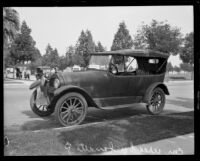 Car possibly used in kidnap of C.B. Duncan, Beverly Hills, 1921