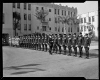 Beverly Hills Police Department officers lined up for inspection, Beverly Hills, 1932