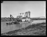 Barge in canal, Brawley, [1920-1939?]