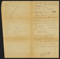 Handwritten note identifying men on Alhambra Police Department pistol team, 1935
