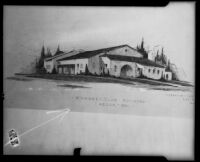 Drawing of the Women's Club Clubhouse by architect Robert H. Orr, Azusa, circa 1928