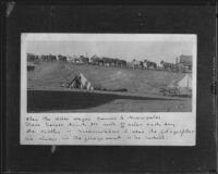 Horse-drawn water wagon and encampment, Greenwater, circa 1907, rephotographed 1933