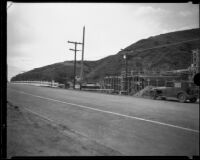 Roosevelt Highway (Pacific Coast Highway) where it crosses Topanga Creek, Malibu, 1933