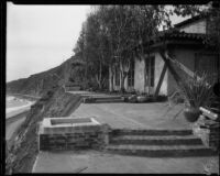 House overlooking Roosevelt Highway, damaged (or under construction), [Malibu?], circa 1929-1939