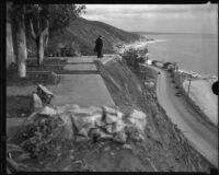 Patio of house overlooking Roosevelt Highway, damaged (or under construction), [Malibu?], 1929-1939