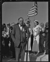 California State Highway Commissioner Philip A. Stanton speaking at bridge opening ceremony, Costa Mesa, 1934