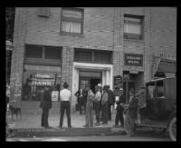 Los Angeles Trust and Saving Bank, Huntington Park Branch, after robbery, Huntington Park, 1921