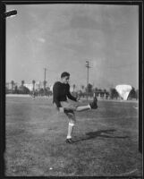 California Institute of Technology halfback Don Rooke kicking football, Pasadena, 1933
