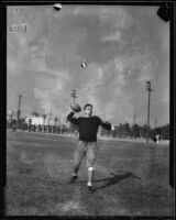 California Institute of Technology halfback Don Rooke throwing football, Pasadena, 1933