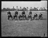 California Institute of Technology football team posing, Pasadena, 1933