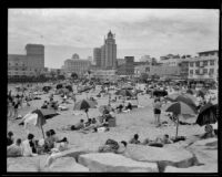 Crowd on beach, Long Beach, [1930s]