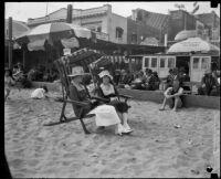 Women on beach, Long Beach, [1930s]