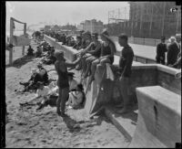 Young people on beach, Long Beach, [1930s]