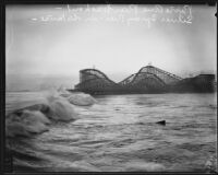 Cyclone Racer roller coaster seen from location of destroyed Pine Avenue Pier, Long Beach, 1934