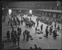 California National Guard members inside Exposition Park Armory, Los Angeles